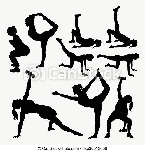 m�dchen, silhouetten, fitness - csp30512656