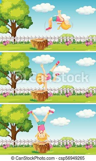 Ein Mädchen, das im Garten spielt - csp56949265