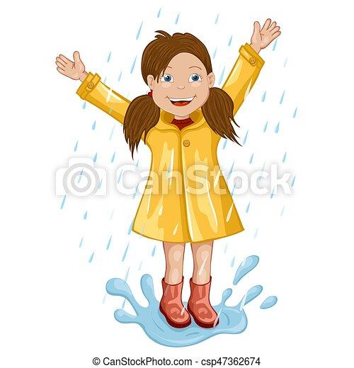 Mädchen im Regenmantel springen und spielen im Regen. - csp47362674