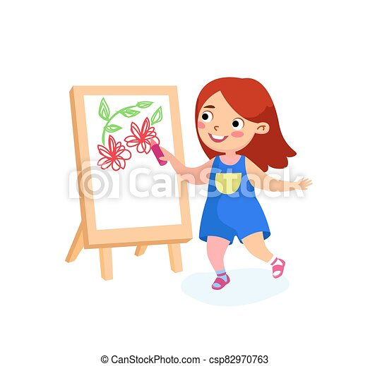 m�dchen, tag, concept., international, glücklich, kindheit, kind, oder, paper., glück, vektor, frieden, schule, gemälde, karikatur, zeichen, feiertage, easel., kinder, abbildung, zeichnung, segeltuch, zurück, blumen - csp82970763