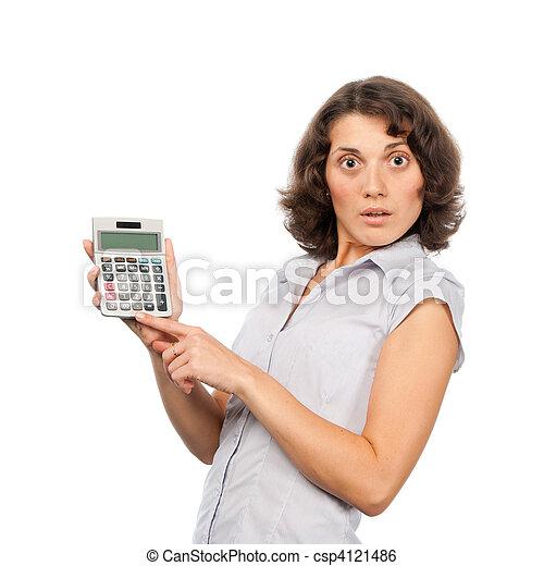 Hübsches Mädchen mit Taschenrechner - csp4121486