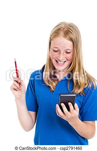 Mädchen und Taschenrechner - csp2791460