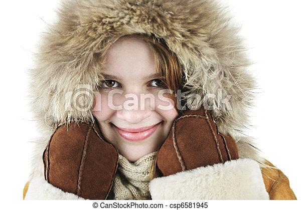 m�dchen, winter, glücklich - csp6581945
