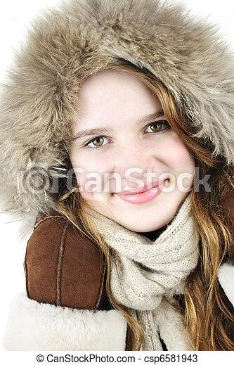 m�dchen, winter, glücklich - csp6581943