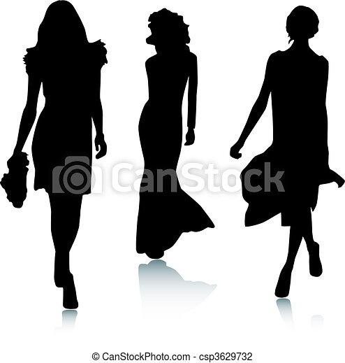 mód, árnykép, nők - csp3629732