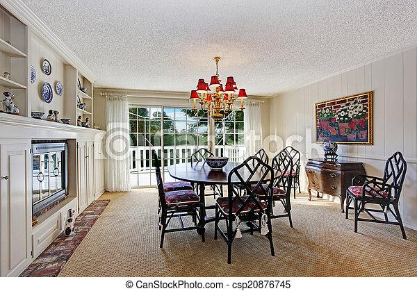 mód, öreg, szoba, étkező, belső, kandalló - csp20876745