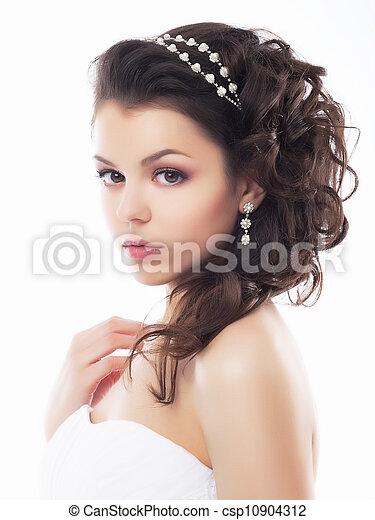 mód, alkat, fiancee., -, fiatal, nemes, esküvő, frizura - csp10904312
