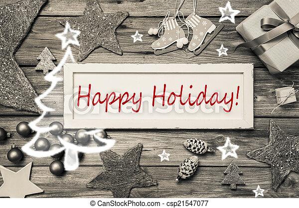mód, kopott, -, szürke, kártya, sikk, ünnep, karácsony, piros, boldog - csp21547077