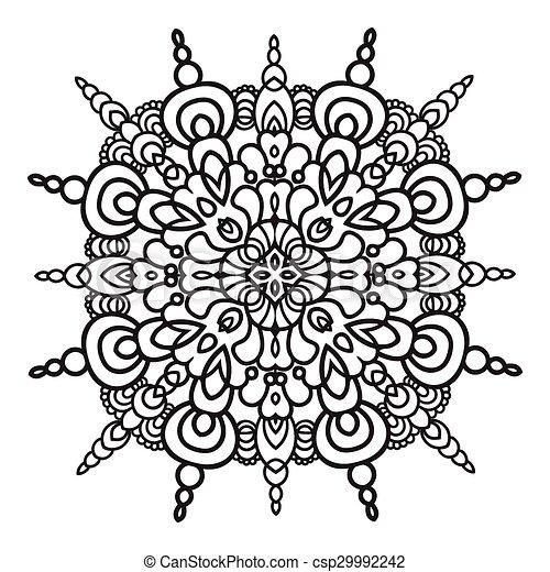 mód, majolica, kéz, zentangle, mandala, rajz, element., olasz - csp29992242