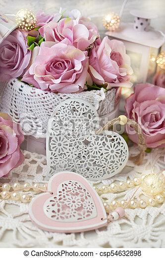 mód, vagy, szeret, dekoráció, esküvő, kopott, romantikus, sikk, valentines - csp54632898