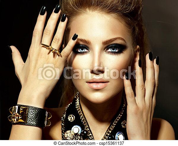 móda, děvče, módní modelka, portrét, rocker - csp15361137