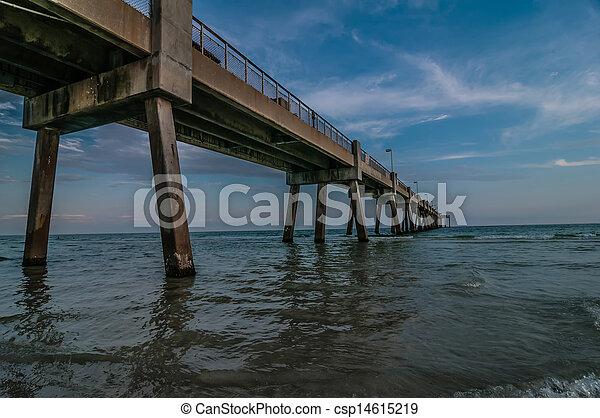 móló, okaloosa, tengerpart, színek - csp14615219