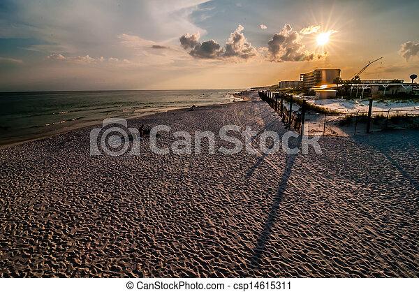 móló, okaloosa, tengerpart, színek - csp14615311
