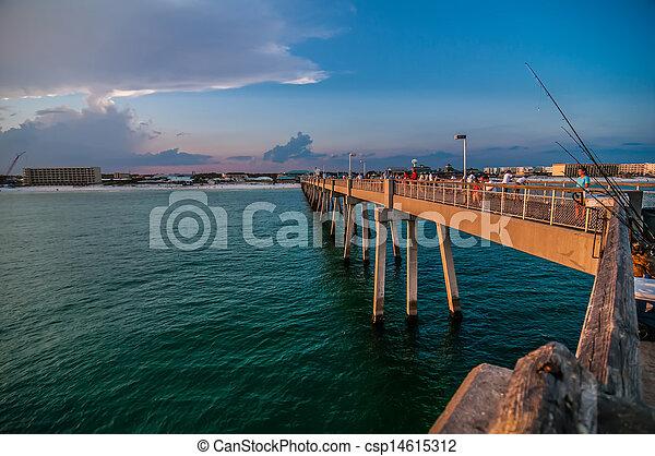 móló, okaloosa, tengerpart, színek - csp14615312