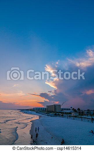móló, okaloosa, tengerpart, színek - csp14615314
