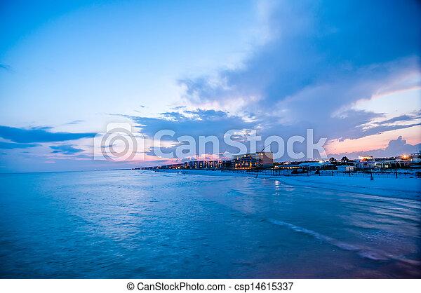 móló, okaloosa, tengerpart, színek - csp14615337
