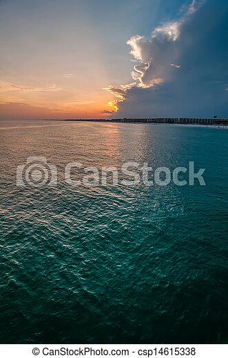 móló, okaloosa, tengerpart, színek - csp14615338