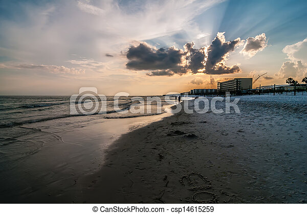 móló, okaloosa, tengerpart, színek - csp14615259