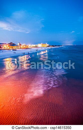 móló, okaloosa, tengerpart, színek - csp14615350