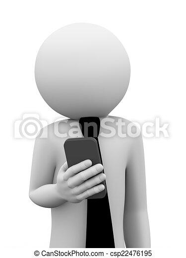 móvel, homem negócios, 3d, usos, telefone - csp22476195