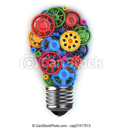 móvel, luz, concept., idéia, perpetuum, gears., bulbo - csp27417513