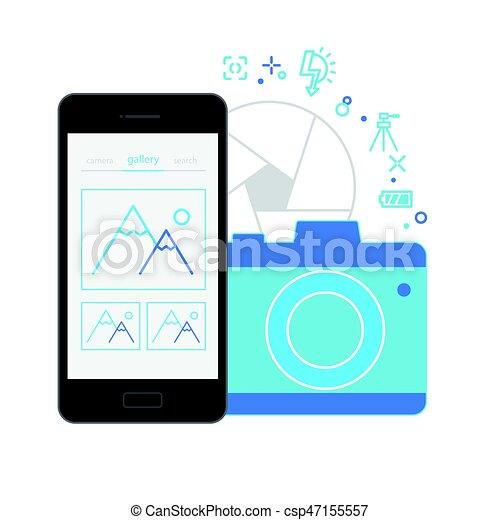 Interfaz de aplicación móvil, cámara - csp47155557