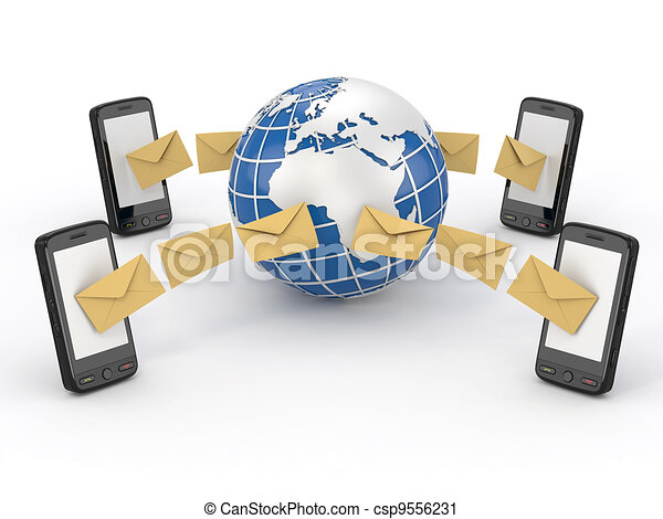 Mensajes, teléfono móvil y tierra. SMS votando - csp9556231