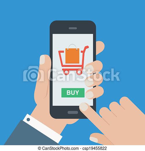 móvil, plano, compras, diseño, pero - csp19455822