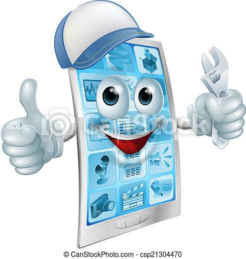 Personaje de reparación móvil - csp21304470