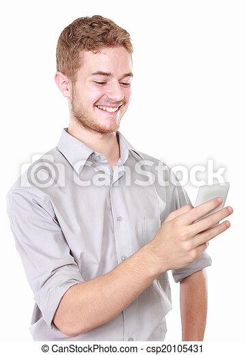 Hombre de negocios usando teléfono móvil - csp20105431