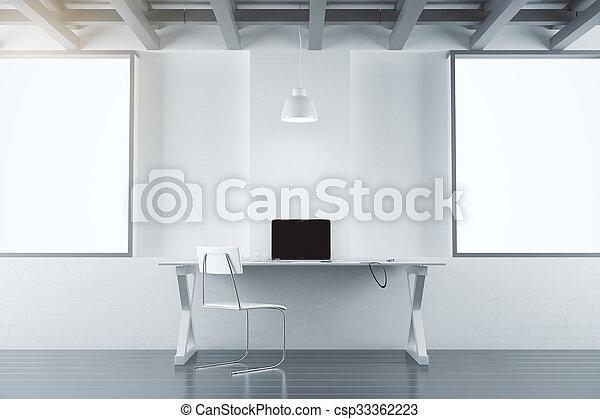 Möbel Leer möbel zimmer buero laptop modern auf plakate leer