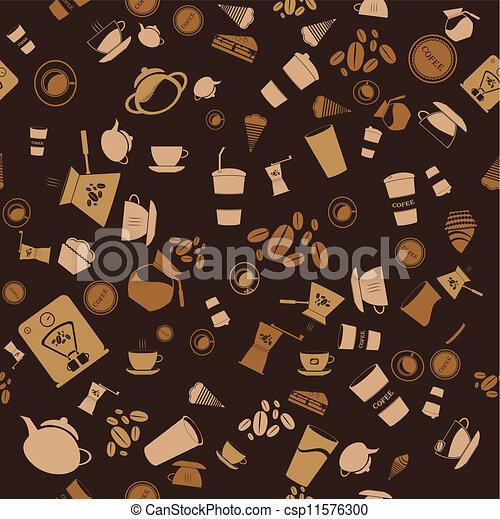 mönster, bakgrund, seamless., ikon, vektor, kaffe - csp11576300
