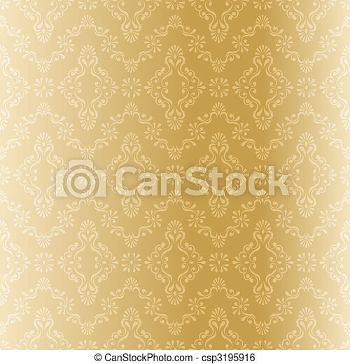 mönster, filigran, seamless, guld - csp3195916