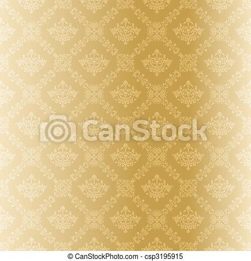 mönster, filigran, seamless, guld - csp3195915