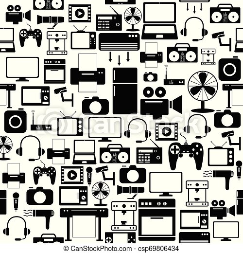 mönster, icon., elektronisk, seamless, bakgrund - csp69806434