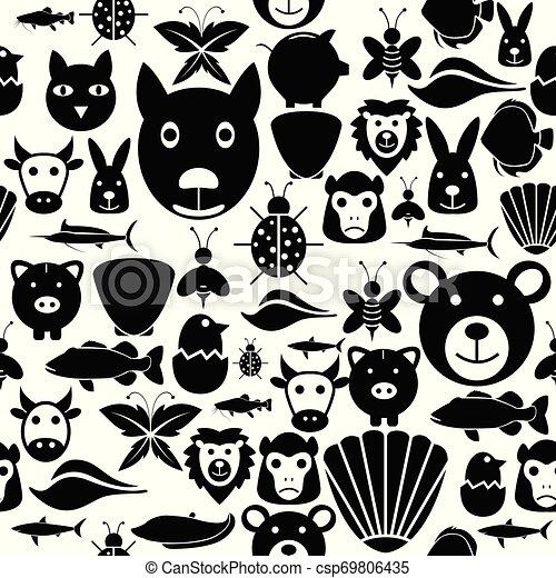 mönster, icon., seamless, bakgrund, djur - csp69806435