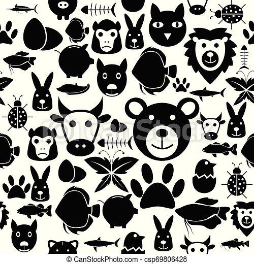 mönster, icon., seamless, bakgrund, djur - csp69806428