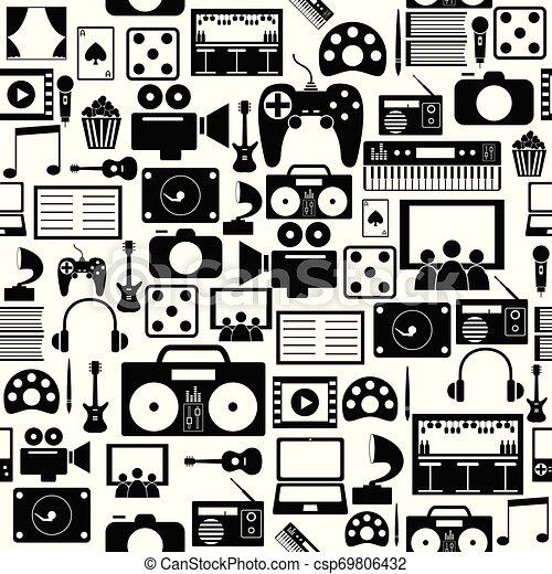 mönster, icon., seamless, bakgrund, underhållning - csp69806432