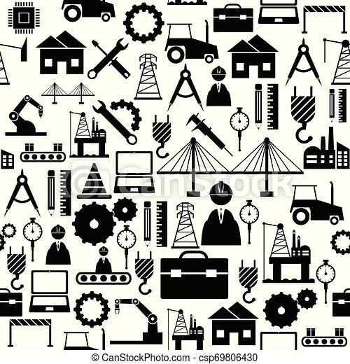 mönster, ingenjörsvetenskap, icon., bakgrund, seamless - csp69806430