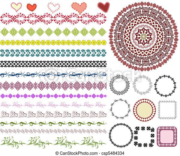 mönster, ram, sätta, gräns, arabesk - csp5484334
