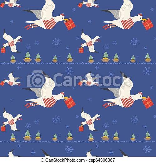 mönster, seagulls, seamless, gåvor, quirky, jul - csp64306367