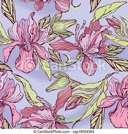 mönster, -, seamless, hand, bakgrund., violett, blommig, oavgjord, blomningen, orkidéer - csp18554364