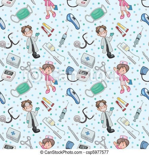 mönster, seamless, läkare - csp5977577