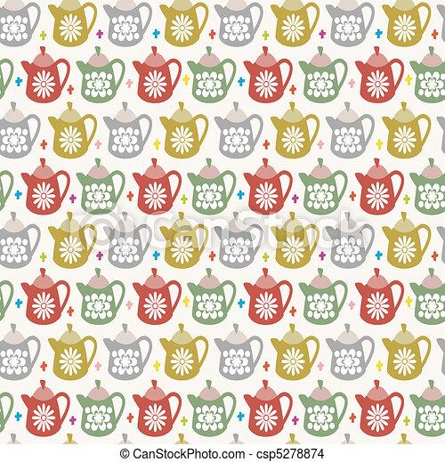 mönster, tekanna, seamless - csp5278874
