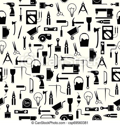 mönster, verktyg, seamless, diy, bakgrund, icon. - csp69560381