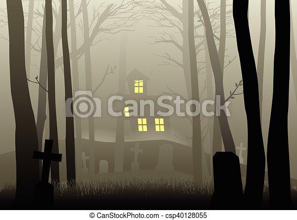 mörk, skrämmande, veder, kyrkogård, hus - csp40128055