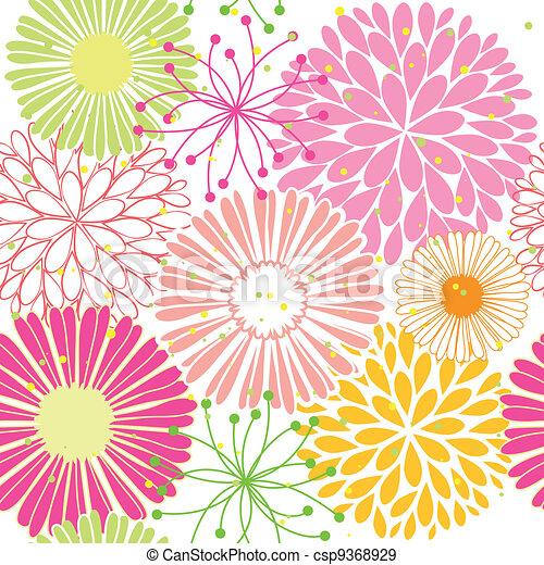 mønster, blomst, springtime, farverig, seamless - csp9368929