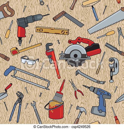 mønster, træ, redskaberne - csp4249526