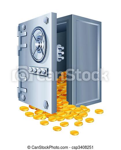 mønter, pengeskab, åbn, guld - csp3408251