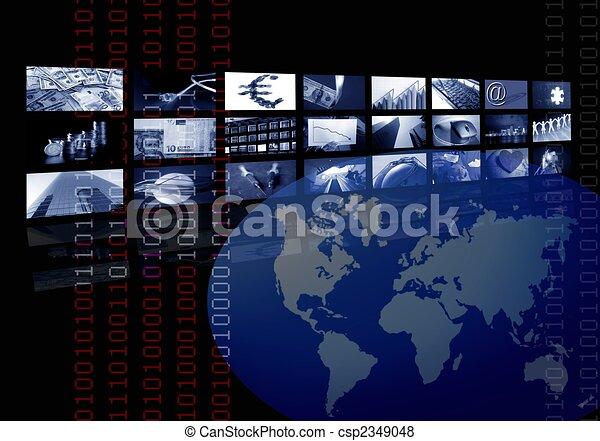 Empresariales, mapa mundial, pantalla múltiple - csp2349048
